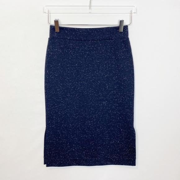 Madewell Column Skirt Side Slit Speckled Navy XS